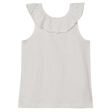 Ruffle Shoulder Tank - White