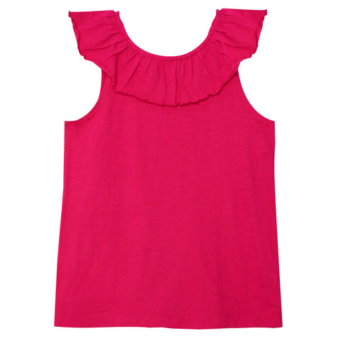 Ruffle Shoulder Tank - Pink Peacock