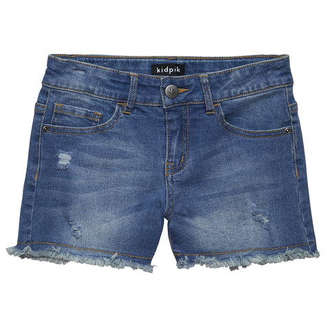Fun Fringe Denim Shorts - Calla Lily Wash