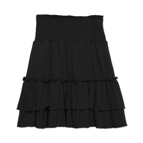 Smock Tiered Skirt - Black