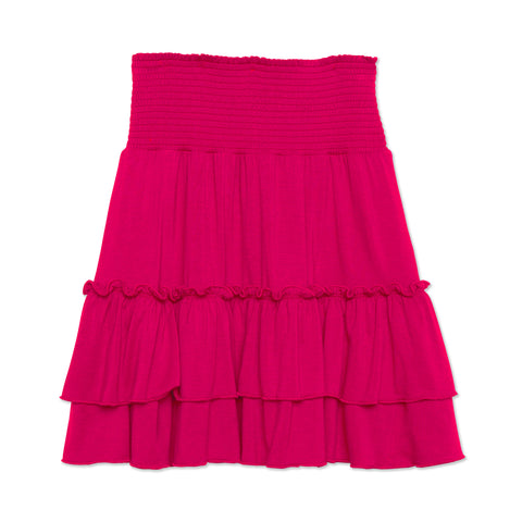 Smock Tiered Skirt - Cerise