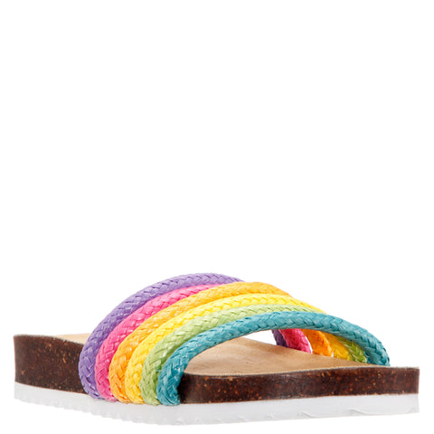 Rainbow Raffia Slide - Multi