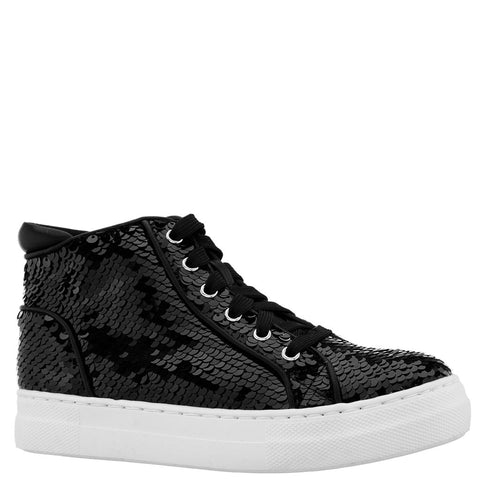 Reverse Sequin High Top Sneaker - Black