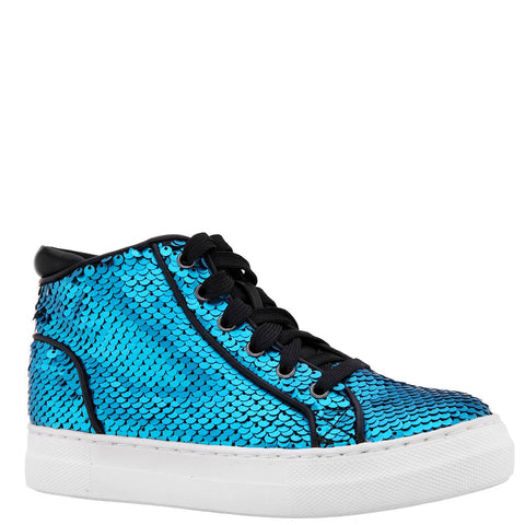 Reverse Sequin High Top Sneaker - Blue Sapphire