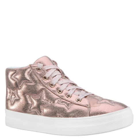 Quilted Star Metallic Sneaker - Rose Gold