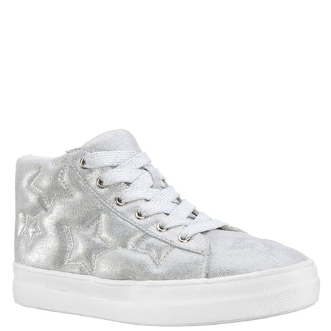 Quilted Star Metallic Sneaker - Silver