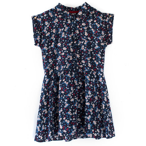 Classic Ditsy Floral Shirt Dress - Kidpik Navy