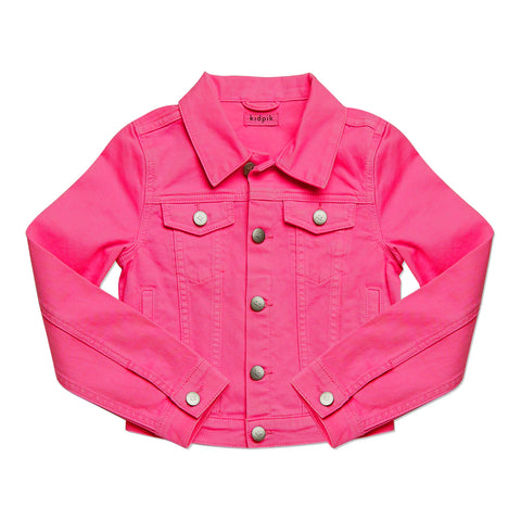 Colored Denim Jacket - Pink Peacock