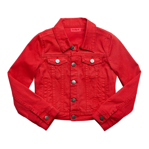 Colored Denim Jacket - True Red