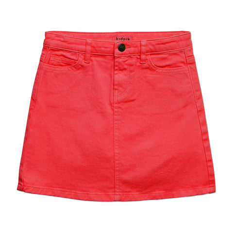Colored Denim Skirt - True Red