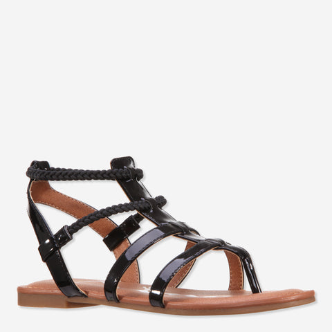 Crinkle Metallic Gladiator - Black