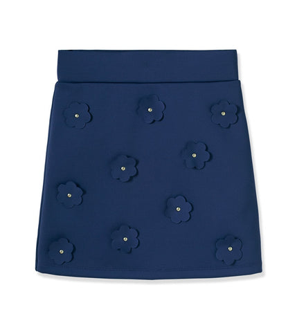 Flower Scuba Skirt - Deep Cobalt