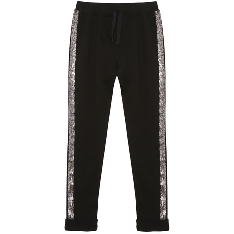 Sequin Stripe Jogger - Black