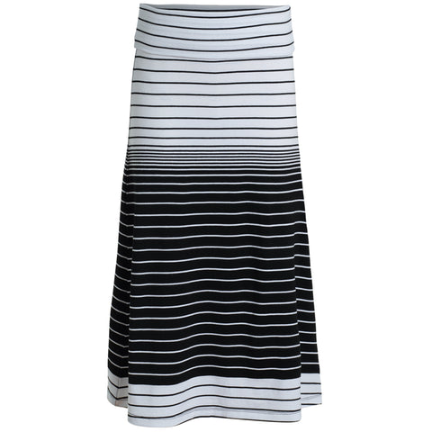 Striped Tea Length Skirt - Black