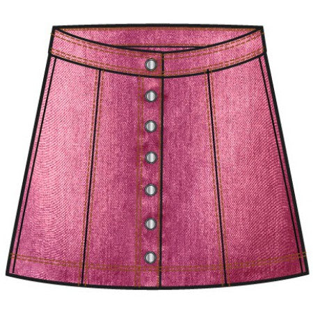 Button Down Flair Denim Skirt - Camellia Rose