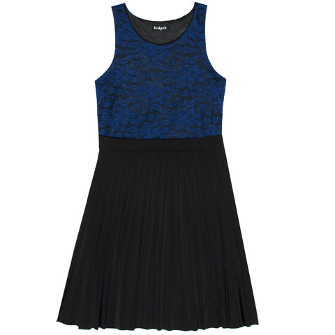 Lace Pleated Dress - Blue Ribbon