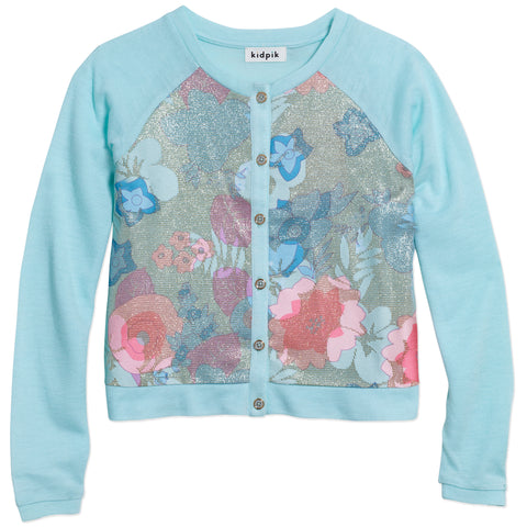 Flora Inset Cardigan - Blue Light