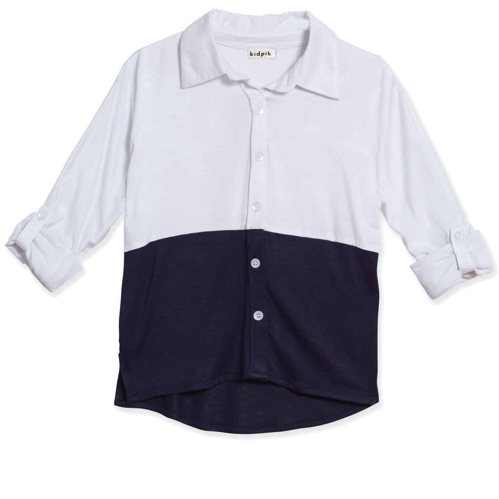 Button Down Colorblock Shirt