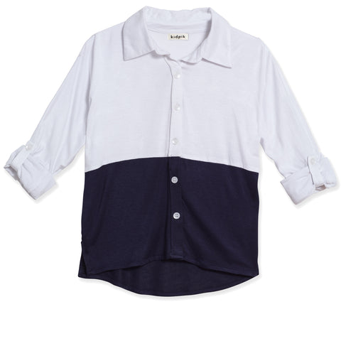 Button Down Colorblock Shirt - White