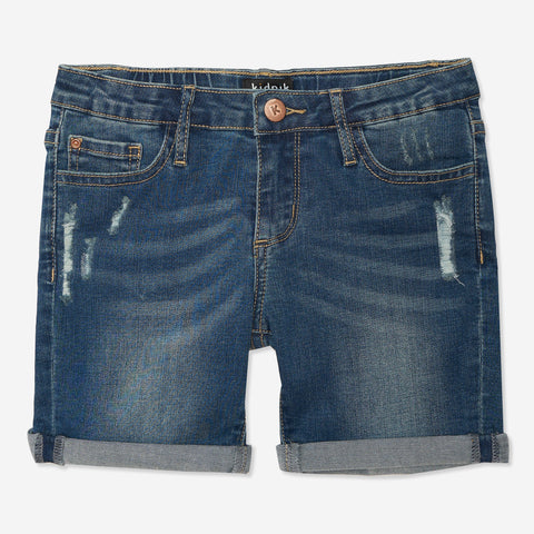 Distress Denim Bermuda Shorts - Calla Lily Wash