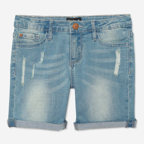 Distress Denim Bermuda Shorts - Zinnia Wash