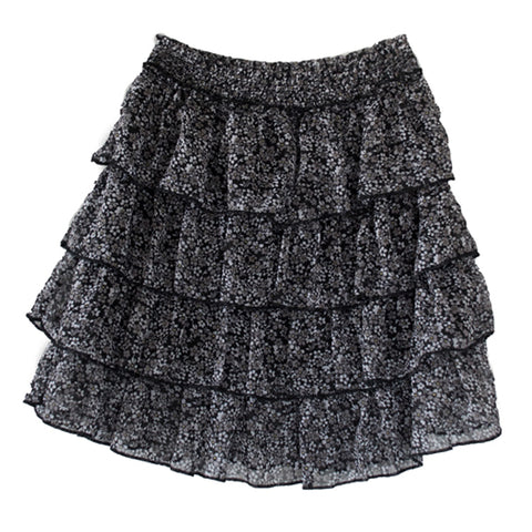 Ditsy Floral Ruffle Skirt - Black