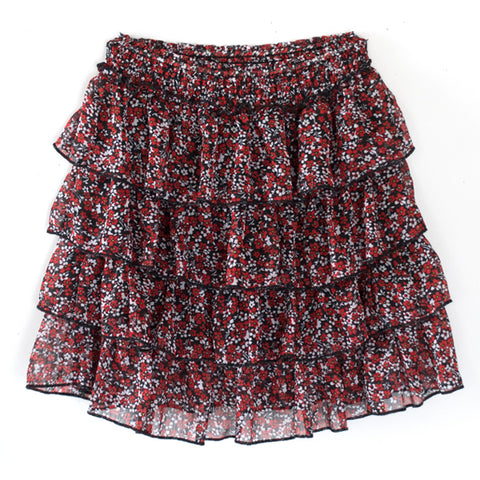 Ditsy Floral Ruffle Skirt - Scarlet