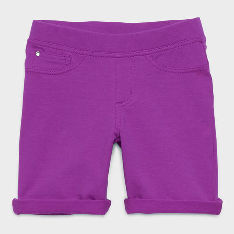 Easy Pull-On Knit Bermuda Shorts - Striking Purple