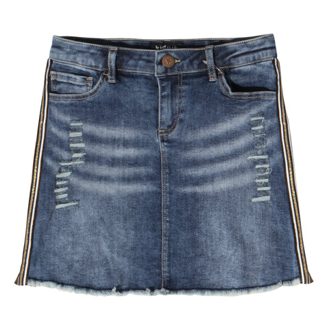 Leopard Taped Denim Skirt - Allspice Wash