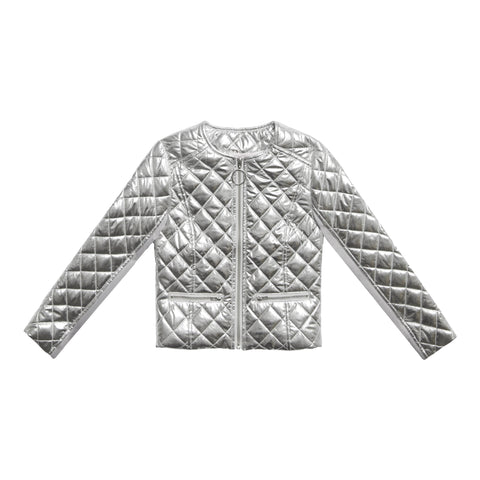 Silver Diamond Quilted Jacket - Silver