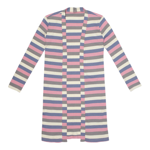 Stripe Long Cardigan - Pink Nectar