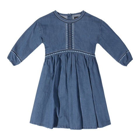 Embroidered Denim Peasant Dress - Thyme Wash
