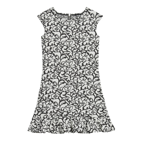 Jacquard Floral Rufffle Hem Dress - Black