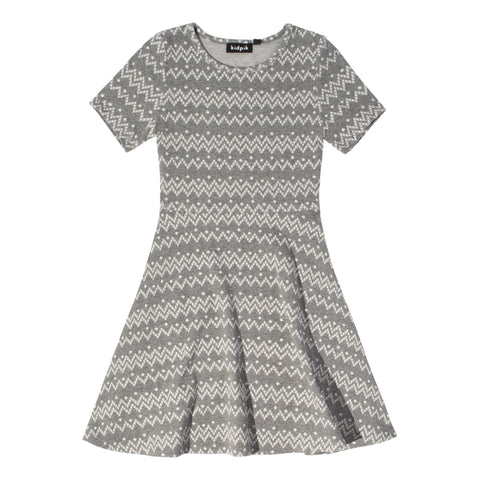 Geo Skater Dress - Light Heather Grey