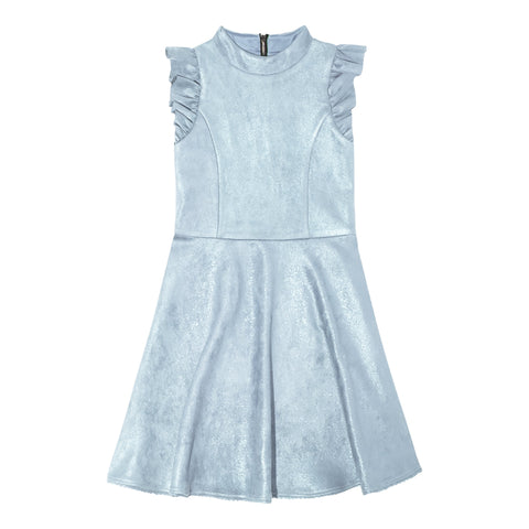 Ruffle Sleeve Suedette Dress - Powder Blue