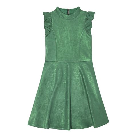 Ruffle Sleeve Suedette Dress - Deep Green