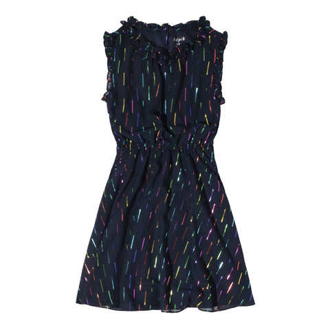 Multi Foil Ruffle Neck Dress - Kidpik Navy