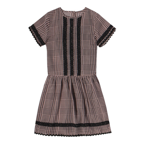 Houndstooth Drop Waist Dress - Pink Nectar
