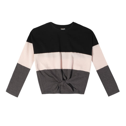 Colorblock Thermal Tie Front Top - Cherry Blossom