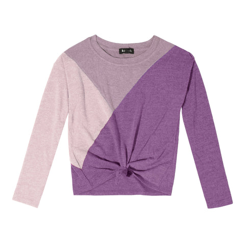 Colorblock Tie Front Top - Mulberry