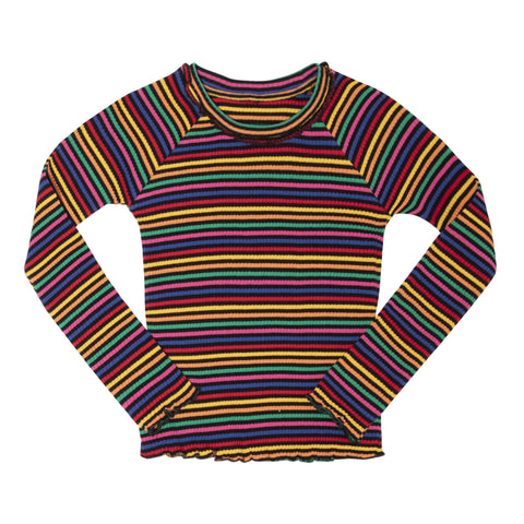 Multi Mini Stripe Rib Crew - Multi