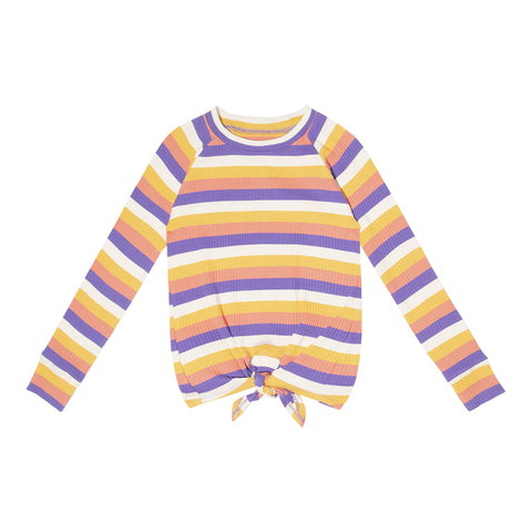 Even Stripe Raglan Rib Crew - Multi