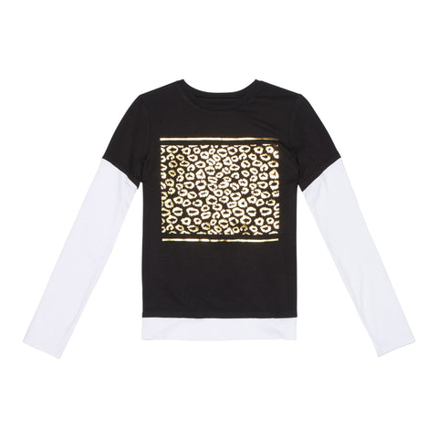 Foil Leopard Double Layered Tee - Black