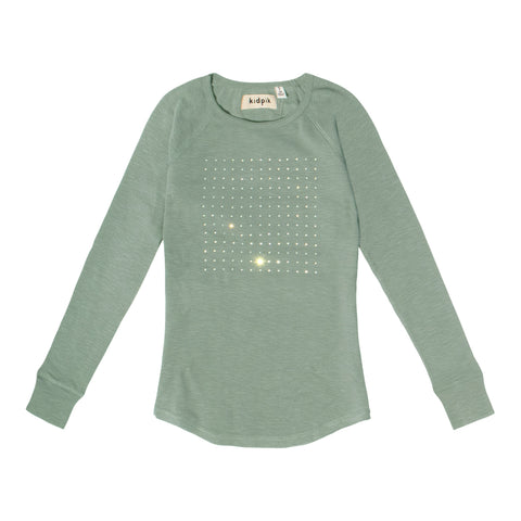 Rhinestone Square Raglan Tee - Dusty Jade Green