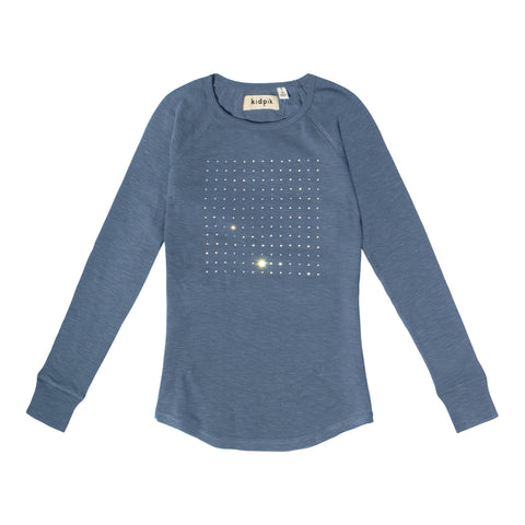 Rhinestone Square Raglan Tee - Blue Ashes