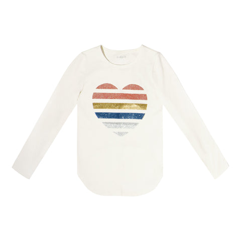 Sequin Stripe Heart Tee - Kidpik Cream