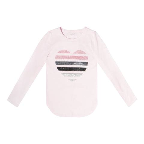 Sequin Stripe Heart Tee - Cherry Blossom