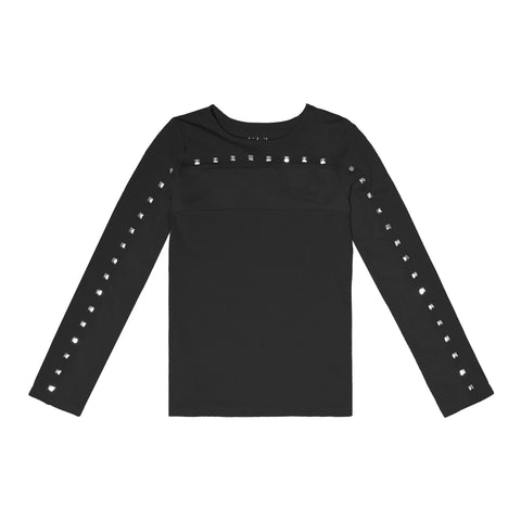 Mesh Yoke Studded Tee - Black