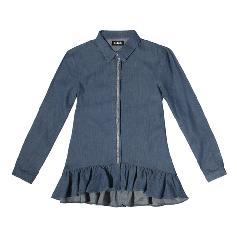 Ruffle Hem Denim Shirt - Cedar Wash