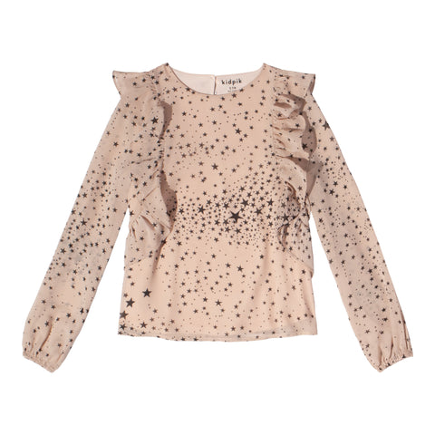 Starry Ruffle Top - Cherry Blossom